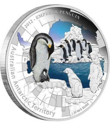 EMPEROR PENGUIN Australian Antarctic Territory Silver Coin 1$ Australia 2012