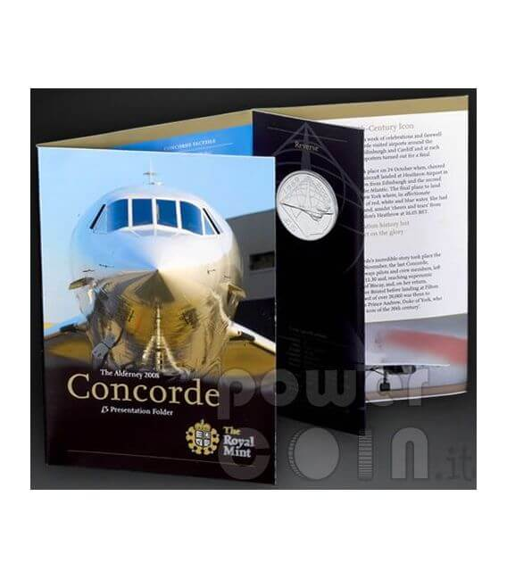 CONCORDE Airplane BU Moneda Pack £5 Alderney UK Royal Mint 2008