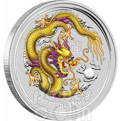 DRAGONE ANDA MELBOURNE Giallo Dragon Moneta Argento 1Oz 1$ Australia 2012