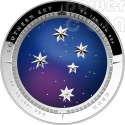SOUTHERN SKY CRUX Curved Plata Proof Moneda 5$ Australia 2012
