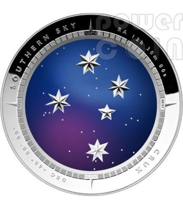 SOUTHERN SKY CRUX Curved Silver Proof Coin 5$ Australia 2012