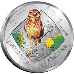 SHOCO Burrowing Owl Augmented Reality Silber Münze 5 Florin Aruba 2012