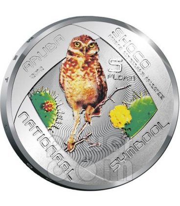 SHOCO Civetta Burrowing Owl Moneta Argento 5 Fiorini Aruba 2012