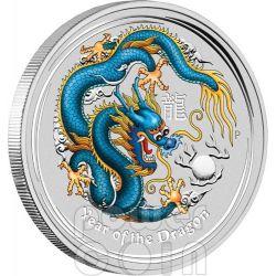 DRAGON ANDA SYDNEY Blue Lunar Year 1 Oz Silver Coin 1$ Australia 2012