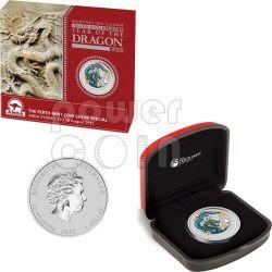 DRAGONE ANDA SYDNEY Blue Dragon Moneta Argento 1Oz 1$ Australia 2012