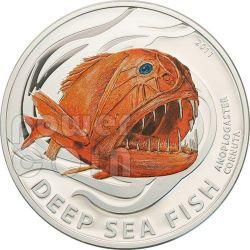 FANGTOOTH Anoplogaster Cornuta Deep Sea Fish Moneda Plata 2$ Pitcairn Islands 2011