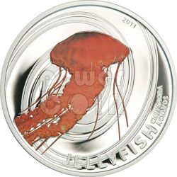 BLACK JELLYFISH Chrysaora Achlyos Silver Coin 2$ Pitcairn Islands 2011