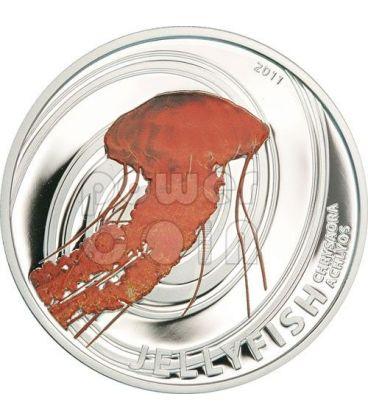 MEDUSA NERA Jellyfish Chrysaora Achlyos Moneta Argento 2$ Pitcairn Islands 2011