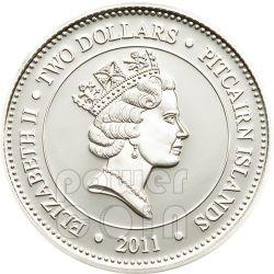 BLACK JELLYFISH Chrysaora Achlyos Moneda Plata 2$ Pitcairn Islands 2011