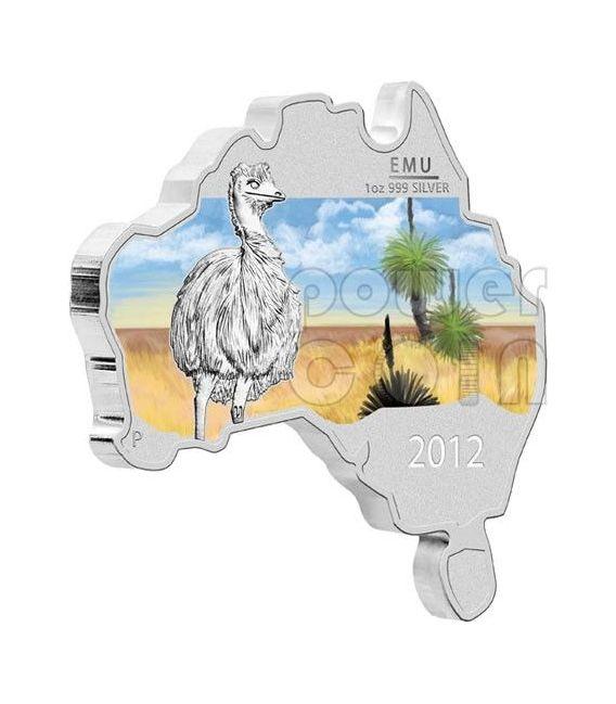 EMU AUSTRALIANO Forma Mappa Moneta Argento Proof 1 Oz 1$ Australia 2012