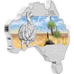 AUSTRALIAN EMU Map Shaped Silver Proof Coin 1 Oz 1$ Australia 2012