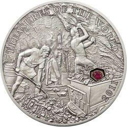 RUBINI Tesori Del Mondo Moneta Argento 5$ Palau 2011