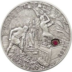 RUBY Treasures Of The World Silver Coin 5$ Palau 2011