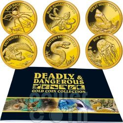 AUSTRALIA DEADLY DANGEROUS Small GOLD Coin Collection Set 6 Monete Oro 5$ Tokelau 2012