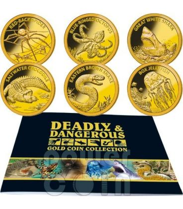 AUSTRALIA DEADLY DANGEROUS Small GOLD Coin Collection Set 6 Coins 5$ Tokelau 2012