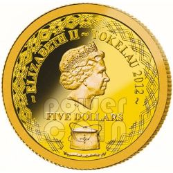 AUSTRALIA DEADLY DANGEROUS Small GOLD Moneda Collection Set 6 Monedas 5$ Tokelau 2012