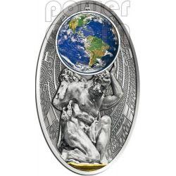 APOCALYPSE II ATLAS Mother Earth Maya Calendar Prophecy Silver Coin 10$ Fiji 2012