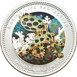 POLPO DAGLI ANELLI BLU Blue Ringed Octopus Protezione Vita Marina Moneta Argento 5$ Palau 2012