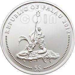 BLUE RINGED OCTOPUS Marine Life Protection Серебро Монета 5$ Палау 2012
