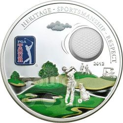 PGA TOUR GOLF BALL Official License Silver Coin 5$ Cook Islands 2012
