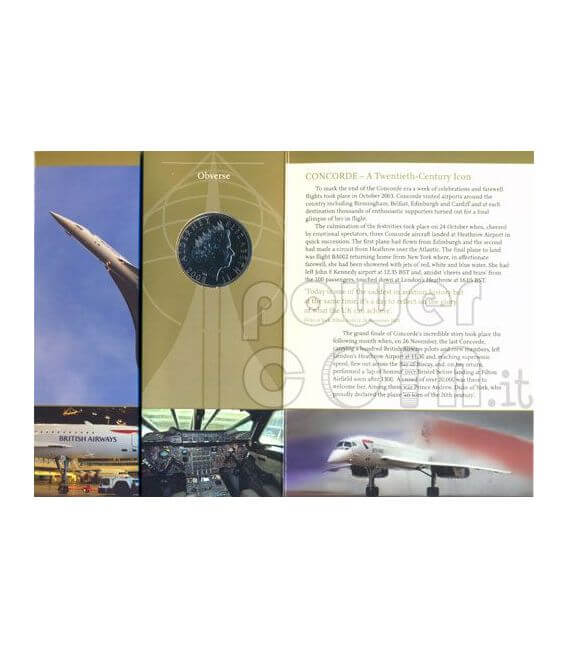 CONCORDE Aereo Moneta £5 BU Alderney UK Royal Mint 2008