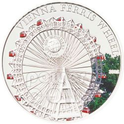 RUOTA PANARAMICA Vienna Ferris Wheel World Of Wonders Moneta Argento 5$ Palau 2012