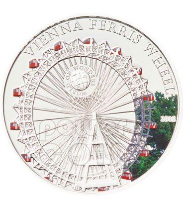 RUOTA PANARAMICA Vienna Ferris Wheel World Of Wonders Moneta Argento 5$ Palau 2012