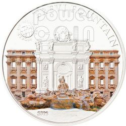 TREVI FOUNTAIN Rome World Of Wonders 5$ Silver Coin Palau 2012