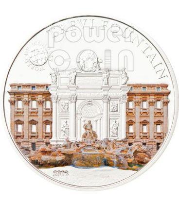 TREVI FOUNTAIN Rome World Of Wonders 5$ Silver Coin Palau 2012