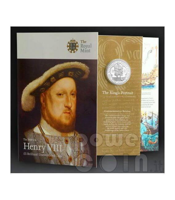 RE ENRICO VIII TUDOR Henry Moneta £5 BU UK Royal Mint 2009