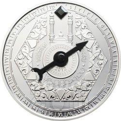 MECCA QIBLA KAABA COMPASS Magnetic Moneda Plata 1000 Francs Niger 2012