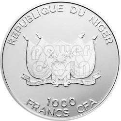 MECCA QIBLA KAABA COMPASS Magnetic Серебро Монета 1000 Франков Нигер 2012