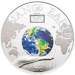NANO EARTH World In Your Hand Серебро Монета 10$ Острова Кука 2012