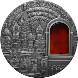 KREMLIN Russia Moscow Mineral Art Amber 2 Oz Silver Coin 10$ Palau 2012
