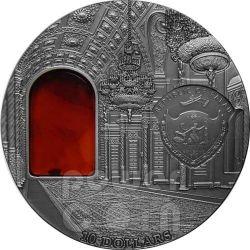 CREMLINO Kremlin Russia Mosca Mineral Art Ambra Moneta Argento 2 Oz 10$ Palau 2012