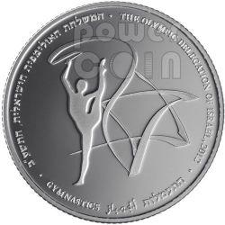 GYMNASTICS London Olympics 2012 Серебро Proof Монета 2 Нис Израиль  2011