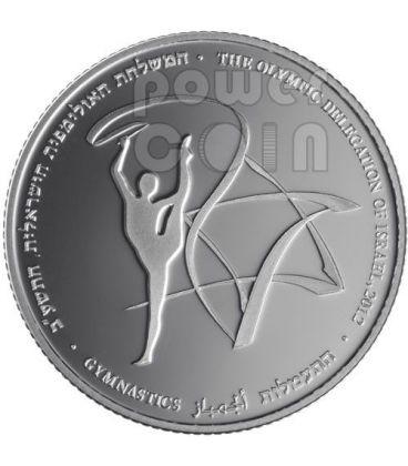 GYMNASTICS London Olympics 2012 Silver Proof Coin 2 NIS Israel 2011