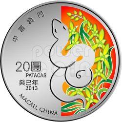 SERPENTE Snake Anno Lunare Zodiaco Cinese Moneta Argento 20 Patacas Macao 2013