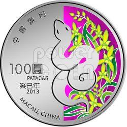 SERPENTE Snake Anno Lunare Zodiaco Cinese Moneta Argento 5 Oz 100 Patacas Macao 2013