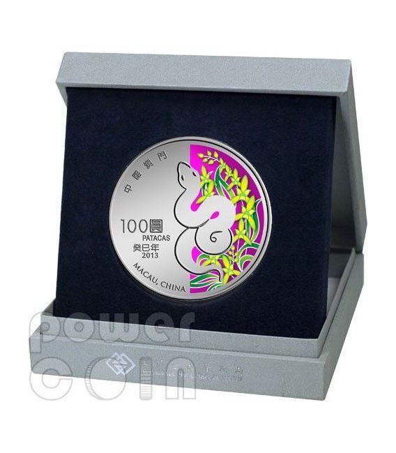 SNAKE Lunar Year 5 Oz Silber Proof Münze 100 Patacas Macau 2013