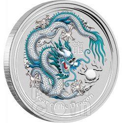 DRAGON ANA PHILADELPHIA White Lunar Year 1 Oz Moneda Plata 1$ Australia 2012