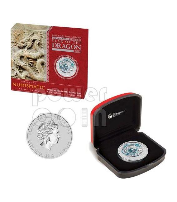 DRAGON ANA PHILADELPHIA White Lunar Year 1 Oz Silber Münze 1$ Australia 2012