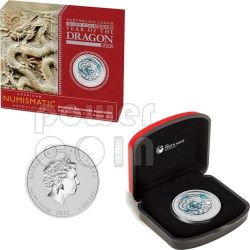 DRAGON ANA PHILADELPHIA White Lunar Year 1 Oz Silver Coin 1$ Australia 2012