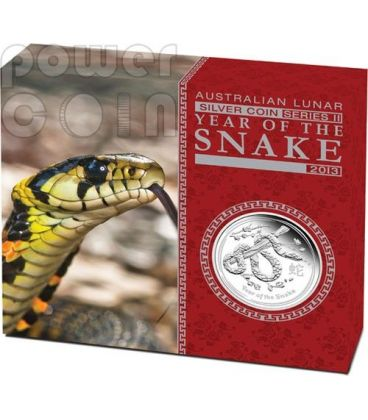 SNAKE Lunar Year Series 1 Oz Silver Proof Coin 1$ Australia 2013