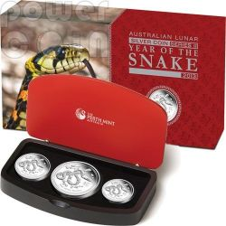 SERPENTE Snake Lunar Serie Set 3 Monete Argento Proof Australia 2013