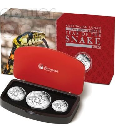 SERPENTE Snake Lunar Serie Set 3 Monete Argento Proof Australia 2013