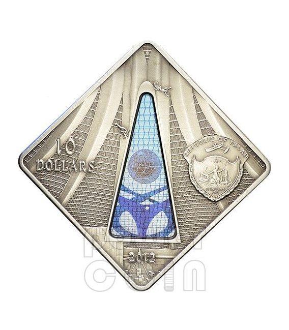 BRASILIA CATHEDRAL Nossa Senhora Aparecida Holy Windows Silver Coin 10$ Palau 2012