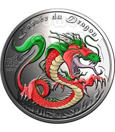 DRAGONE Dragon Anno Lunare Cinese Moneta Argento 0.5 Oz 500 Francs Benin 2012