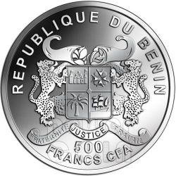 DRAGON Lunar Year Chinese Zodiac 0.5 Oz Moneda Plata 500 Francs Benin 2012