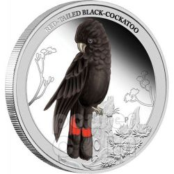 CACATUA NERO Black Cockatoo Birds of Australia Moneta Argento 50c Australia 2013